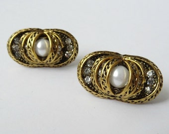 Gold Tone Oblong Clip On Earrings with Rhinestone Detail & Faux Pearl, Oval Earrings, Large Stud Earrings, Costume Jewelry, Clip On Earrings