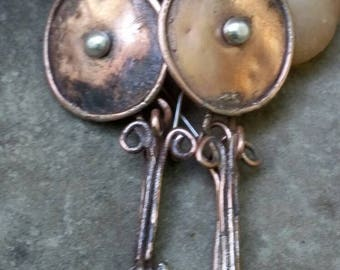 Egyptian earrings. Statement earrings. Large circle earrings. Copper earrings. Tribal jewelry. Large dangles. Medallion earrings. Handmade.