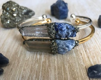 Sapphire jewelry, September birthstone jewelry, blue sapphire, raw sapphire bracelet, birthstone bracelet, gemstone bracelet, best selling