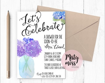 Printable Bridal Shower Invitation - Watercolor Hydrangeas