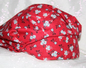Red flower bouffant style scrub hat