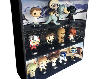 Exclusive Stackable Funko Pop Classic Display with 3 Star Wars Backdrop Inserts, Black Corrugated Cardboard (Toys not included)