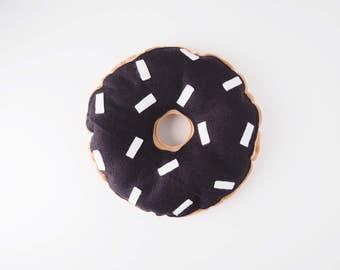 Doughnut pillow - Donut cushion - Monochrome donuts