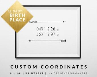 Coordinates Print - Rustic Tribal Arrows Decor - Chevron Boho Print - Baby Nursery Gift - Custom Latitude Longitude Coordinates Printable 0