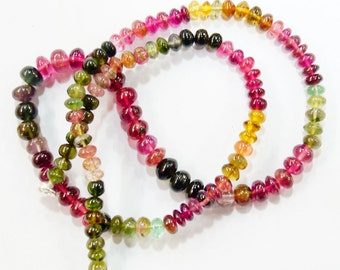 natural gem stone multi color smooth tourmaline beads complete necklace top quality 142 carats 17 inches 4 to 7 mm