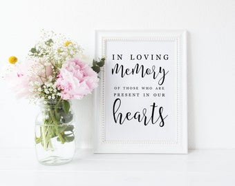 Printable Tribute Sign, In Loving Memory of Those Who Are Present in Our Hearts, Heaven Sign, Tribute Sign,