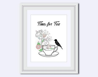kitchen decor - Tea art prints - teacup printable - printable women gift - tea poster - tea lover poster - tea sign - digital art download
