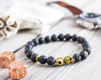 8mm - Black lava stone beaded gold skulls stretchy bracelet, made to order yoga bracelet, lava beaded mens bracelet, womens bracelet
