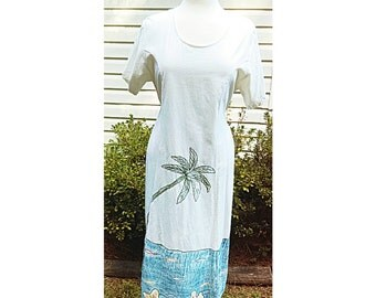 80s White Beach Tunic Dress Vintage tropical Cotton Sundress By Magic