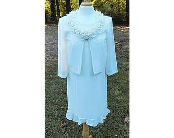 Vintage off White Dress  2-piece set dress Mother of The Bride Dress and Blazer Size 10 By Another Thyme