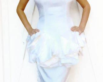Vintage White Dress with Polka Dots Size 8 by Cristina Jan Barboglio  Party Dress Wedding Dress Civil Wedding Day Wedding
