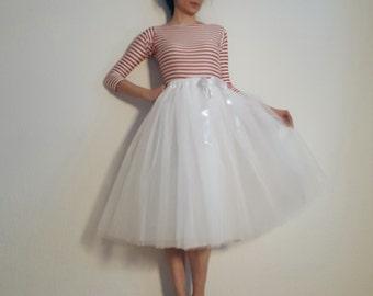 Tulle skirt petticoat 70 cm white light version