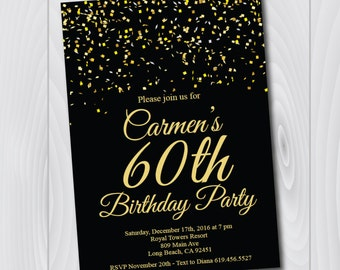 60th Birthday Invitation/Printable Gold & Black Birthday Invitation/e-card invitation/Template/Birthday Invitation/sixtieth birthday