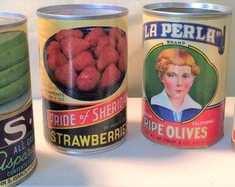 Vintage Can Rustic Kitchen Decor, General Store, Advertising, Tin Can, Paper Label, Antique Vintage Kitchen Home Decor,Farmhouse, Primitive