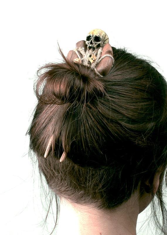 Hairpin - wooden hairpin - skull hairpin - wooden hair stick - wooden hair fork - hair accesories - hair fork - handmade hairpin