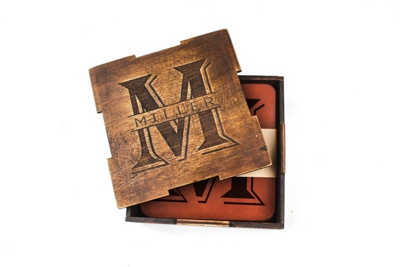 Personalised coasters set in wooden gift box - leather coasters - custom drink coasters - laser engraved - custom design housewarming gift