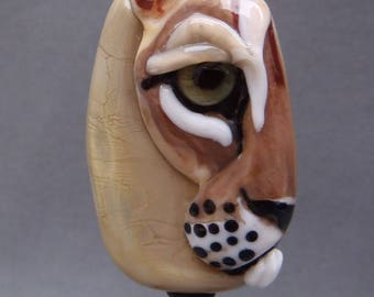 NEW!  Cougar Focal Lampwork Glass Bead - Big Cat Tile Style Partial View Collection