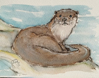Otter painting art original watercolour wildlife painting, an original watercolour painting sketch of an inquisitive otter