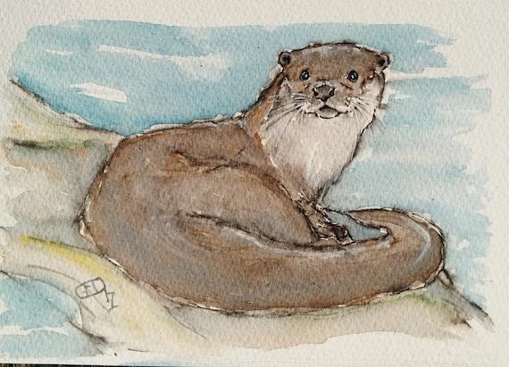 Otter Painting Art Original Watercolour Wildlife Painting An