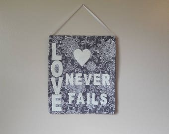 Love Never Fails Wall Hanging