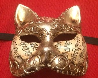 Paper Mache Half Cat Mask / Mardi Gras Mask, Antique Gold with Music Note Paper