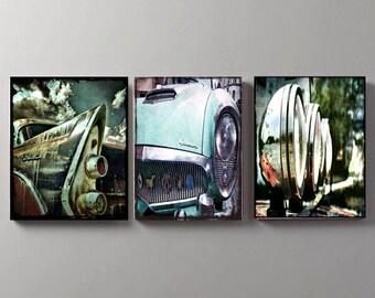 Car print series, car print, car wall decor, car wall print, set of 3, car wall art, car art, vintage cars, vintage cars framed, old cars