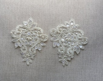 2 X Ivory Sequined Beaded Venice Lace Applique