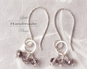 Earrings silver sterling 935 with grey crystals