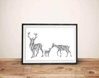 Deer Family Print - 11x14