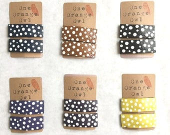 Leather hair clips with white dots set of 2