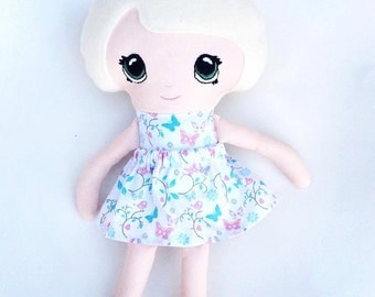 """14"""" Soft Doll With Removable Skirt/Dress Up Doll/Handmade Soft Doll/Handmade In The UK"""