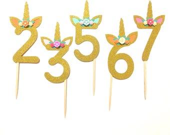 1 pc CHOOSE AGE NUMBER Flowers Unicorn Horn Ear Gold Glitter Cake Topper for Birthday Baby Boy Girl Whimsical Theme