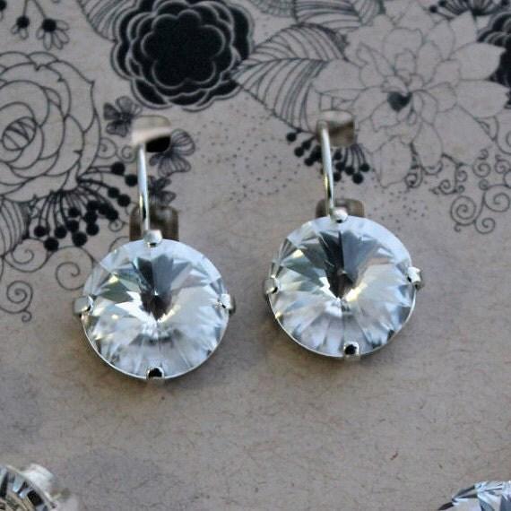 12mm Swarovski Crystal Earrings, Round Rivoli Crystals