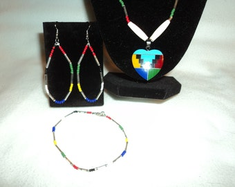 Necklace, Earrings and Bracelet Set, Multi-colored Heart Pendant Necklace with Matching Bracelet and Earrings