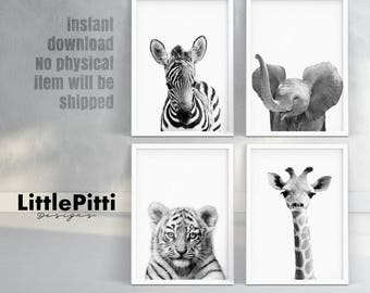 Safari nursery wall art, nursery print set, jungle animals, zebra, elephant, giraffe, tiger, nursery set of 4, baby animal photo instant
