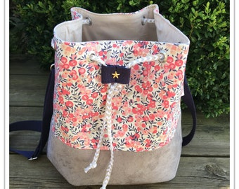 """Cotton candy"" bucket bag in with shoulder - bag suede and liberty - liberty handbag"