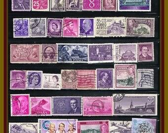 50 Purple Postage Stamps - Vintage Mix