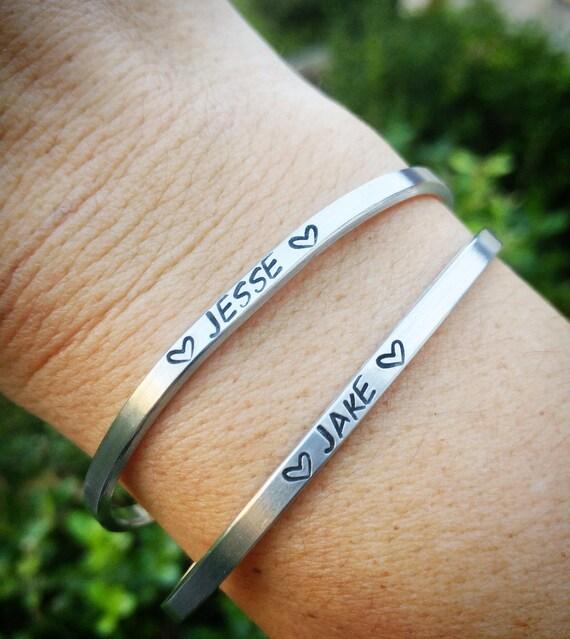 Hand stamped Cuff bracelet, Minimalist cuff,  skinny cuff bracelet, quote cuff bracelet, Personalized cuff bracelet