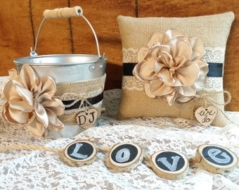Ring Bearer Pillow, Flower Girl Basket, Rustic Wedding, Champagne, Black