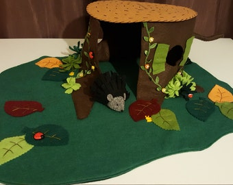 Felt play mat with old stump-house with hedgehog. Easter, Gift.