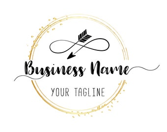 Custom logo design, gold Infinity Arrow logo,  Black gold round photography logo Round logo design Business logo design for photography