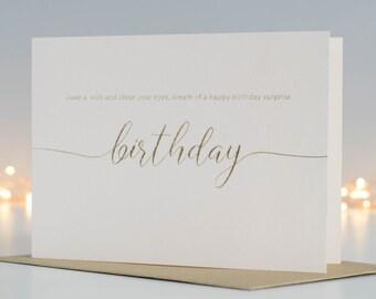 Blush Pink Birthday Card, Pretty Birthday Card For Her, Gold Foil Card, Make A Wish Greeting Card, Happy Birthday Card