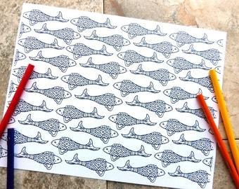 Fish, coloring pages, printable coloring page, fish pattern, zendoodle