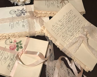 French Country Decor, Decorative Books, Bridal Shower Centerpiece, unbound Books, French Scriot, Vintage Print, uncovered Aged Pages, Lace