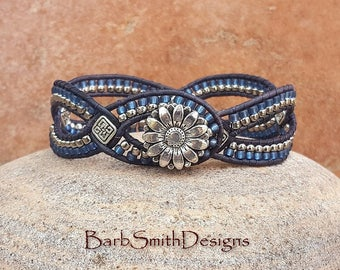 Blue Denim Silver Beaded Leather Cuff Wrap Bracelet - D'Vine One in Indigo