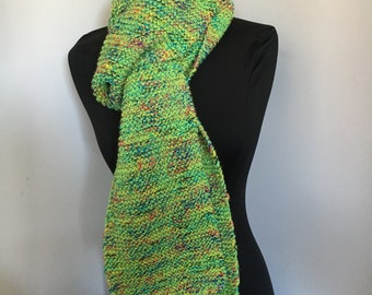 Knitted Soft Very Long Lime Green Tweed Scarf