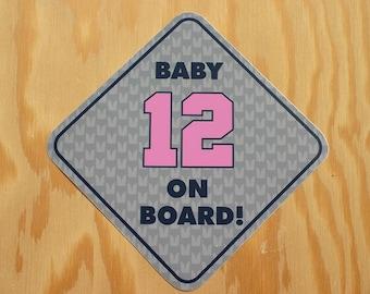Baby 12 On Board -- Seattle Seahawks Baby on Board -- 12 Baby on Board Sticker -- Seattle Seahawks Baby Shower Gift -- Seahawk Baby Decal