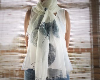Indigo Silk Linen Shawl - Hand Stitching. Hand printed shawl, indigo shawl, shawl wrap, large scarf, eco friendly, women's shawl, mbpblue