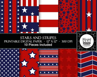 10 Digital Paper Backgrounds - Instant Download - Stars and Stripes #12