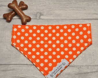 Orange and white spotty/polka dot dog bandana, Handmade fabric neckerchief for girl or boy dogs.  Dog scarf/neck tie gift for puppies